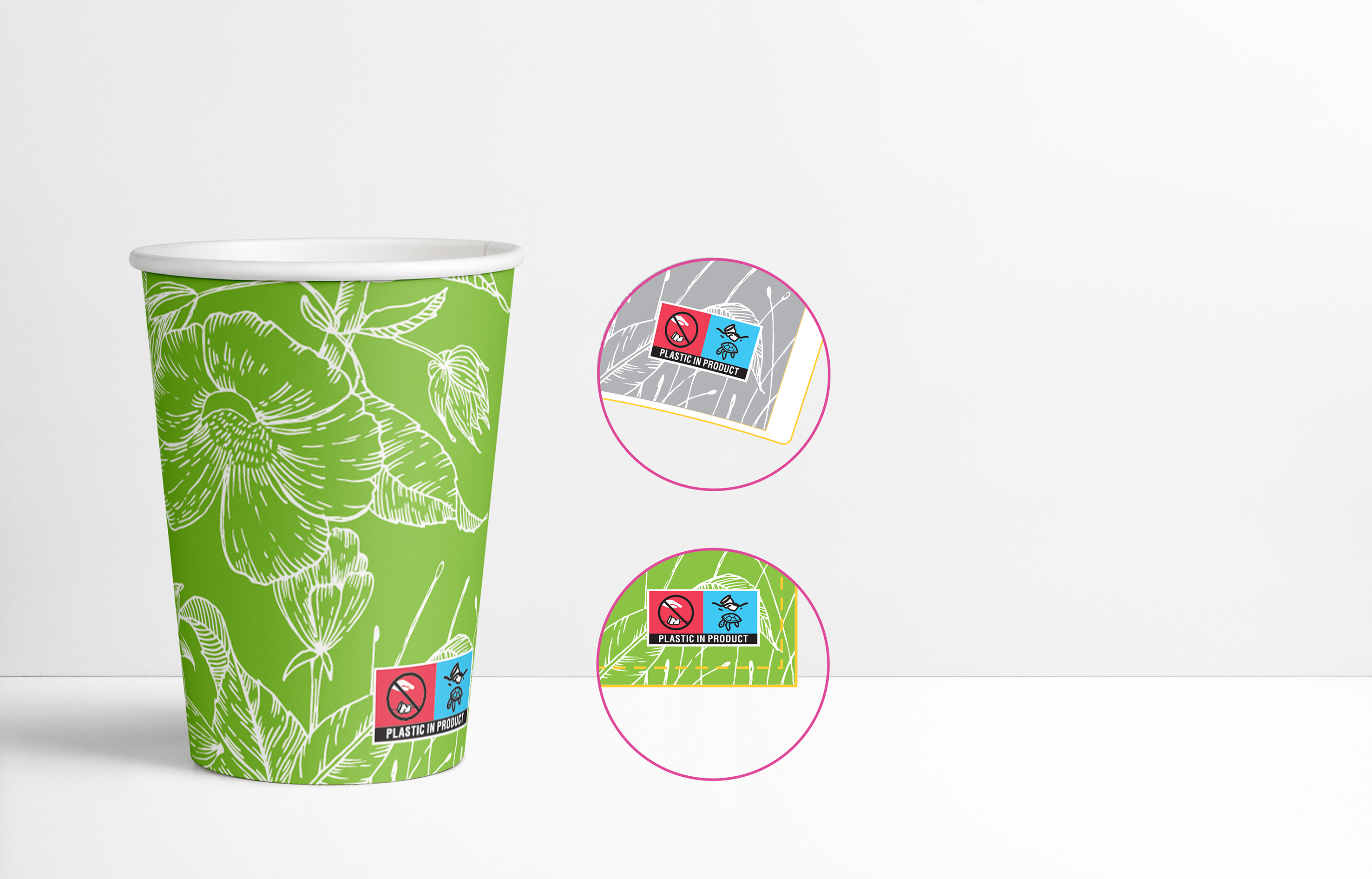 IMPORTANT! The paper cups labeling according SUP Directive.