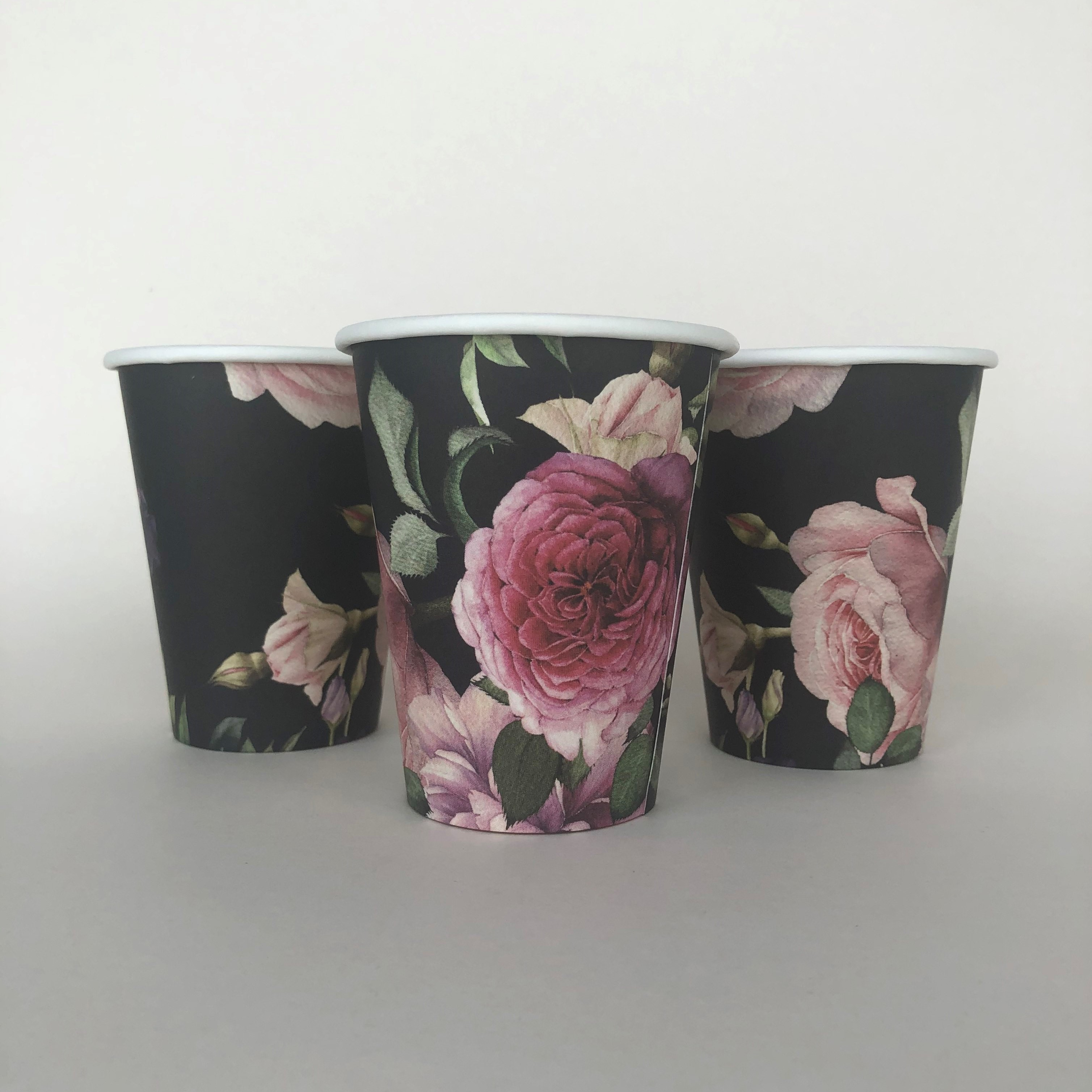 Single Wall Cups With Flowers