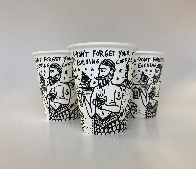 Black And White Customized Paper Cups