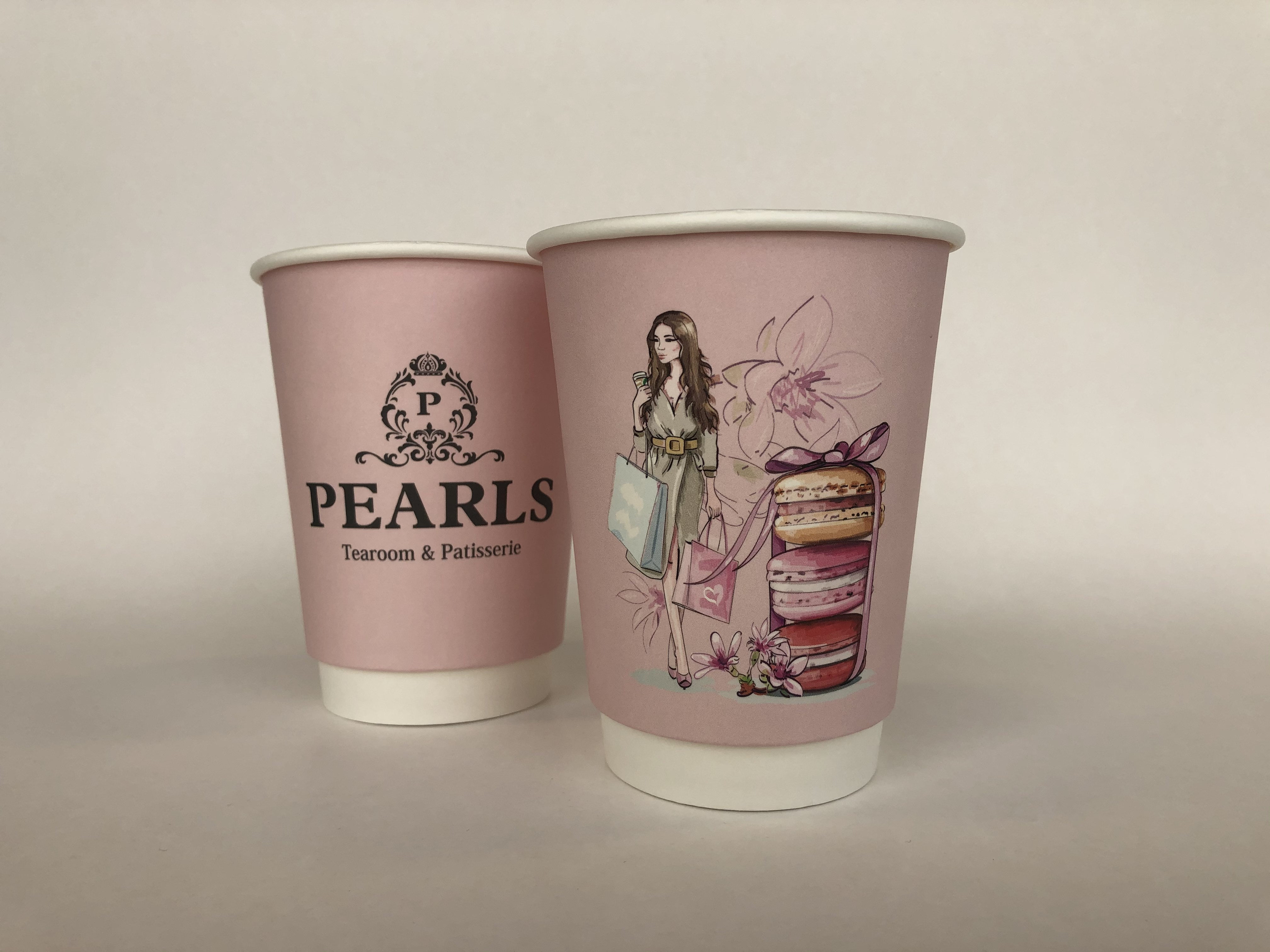 Pink Double Wall Paper Cups